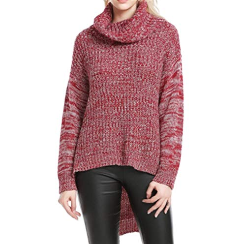Vrouwen Button Sweater Herfst en Winter Woven shirt dieptepunt dikke coltrui Knitwear Winter Hooded (Color : Red+White, Size : L)