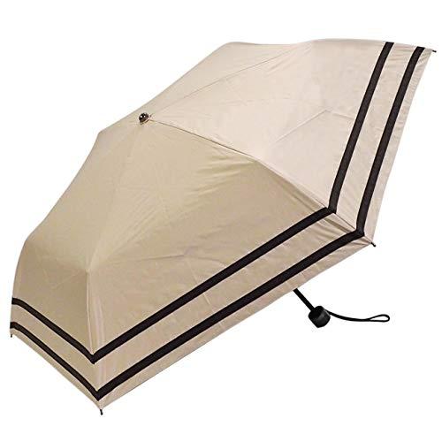 [マコッカ] 遮光率100% 遮蔽率99.9%以上 晴雨兼用 日傘 雨傘 makez. コンパクト 折りたたみ傘 50cm 2本ライン ベージュ