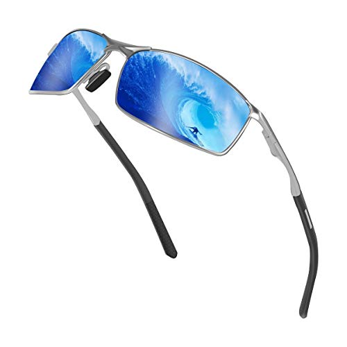 Sunmeet Gafas de Sol Hombre Polarizadas Deportes 100% Protección UV Gafas de sol para Hombre Conducción S1008(Azul/Negro)