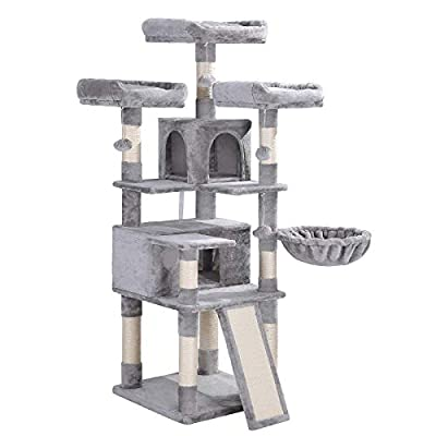 FEANDREA Cat Tree, Large Cat Tower, Cat Condo with Scratching Posts, Board, 2 Caves, 3 Plush Perches, Activity Center, 66.1 Inches, Light Gray UPCT019W01