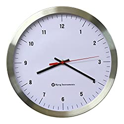 Bjerg Instruments Modern 12 Stainless Silent Wall Clock White Face with Non Ticking Quiet and Accurate Movement