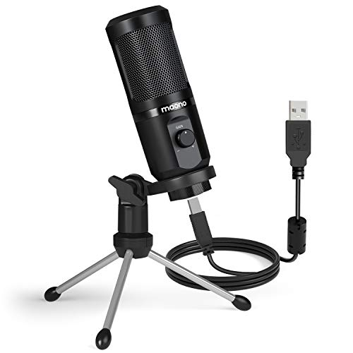 Maono AU-PM461TR USB Condenser Mic for PC and Singing, Recording Microphone with Mic Gain for Gaming, Podcast, Studio, Vlogging