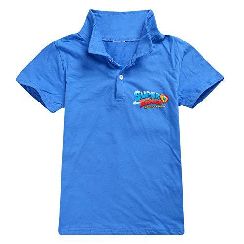 Ukgjhejjh Superzings Maglietta Confortevole Classic Lapel Top Tempo Libero Simplement Selvaggio Manica Corta T-Shirt Ragazzo e Ragazza (Color : Blue01, Size : 100)