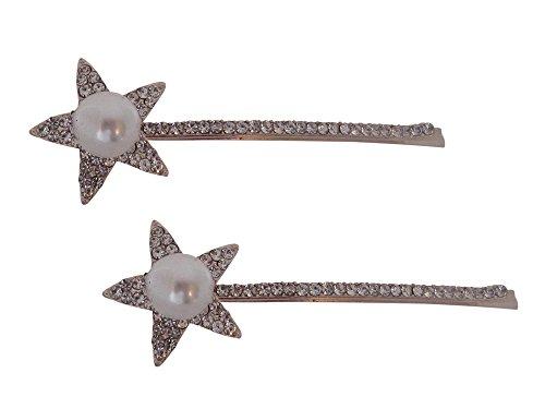 Une paire d'argent plaqué Strass Cristal Perle étoile Bobby pins/Cheveux clips/Barrettes à cheveux