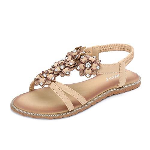 Sandalias de verano para mujer, sandalias planas de baile y princesas, sandalias de playa para mujer, sandalias de princesa, sandalias de playa, zapatos informales en tallas grandes, color marrón, 41
