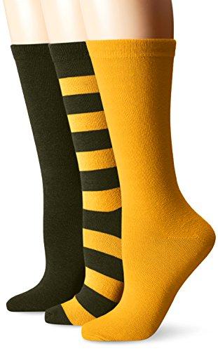 Muk Luks Women's Game Day Sport Stripe Crew Socks, Unisex-3 Pair Pack, Green/Gold, One Size