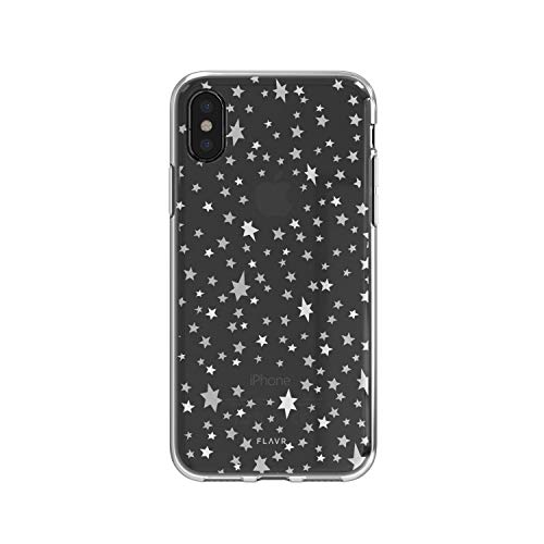 FLAVR Starry Nights 14,7 cm (5,8 Zoll) Silber Transparent - Schutzhülle für Handy (Schutzhülle, Apple iPhone X, 14,7 cm (5,8 Zoll), silberfarben, transparent)