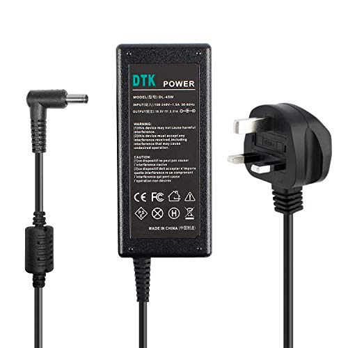 DTK Ac Adapter Laptop Computer Charger/Notebook PC Power Supply for Dell Output: 19.5V 2.31A 45W Power cord Tips:4.5mmX3mm