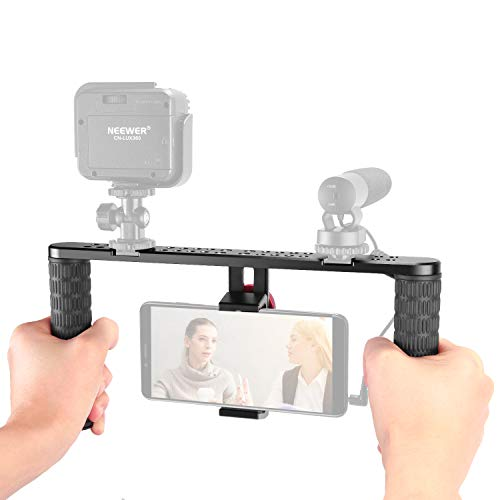 Neewer Stabilizzatore Smartphone Rig di Metallo Impugnatura con Attacco Coldshoe per iPhone XS MAX X 8 8plus   Samsungs10+ S10 S9 S8   Huawei P30pro P30 P9   Luci LED   Microfoni