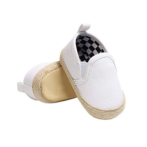 DEBAIJIA Bébé Espadrille Chaussures Premier Pas Enfants Soulier Toile Garçons 0-6M Semelle Souple Antidérapant Légér 17 EU Blanc (0-6)