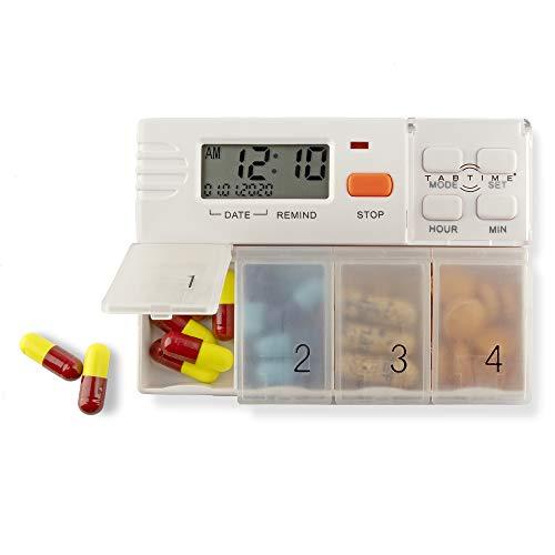 TabTime 4, Pille und Medikamenten Timer Reminder Dispenser mit 4 Alarmen pro Tag, EXTRA große Pillenabschnitte.