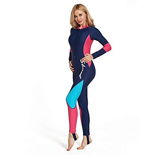 Wetsuits vrouwen voorzijde rits Colorblock zonnebrandcrème lange mouw een stuk badpak duiken pak Surf dun kwallen kostuum snorkelen Surf Set