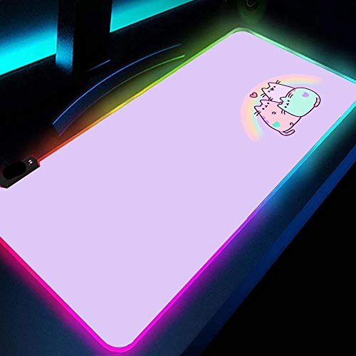 Cute Purple Kitten RGB Gaming Mouse Pad Led Mousepad with 14 Lighting Modes and USB Mat for Girl PC, Laptop, Desk-19.69'x39.37'