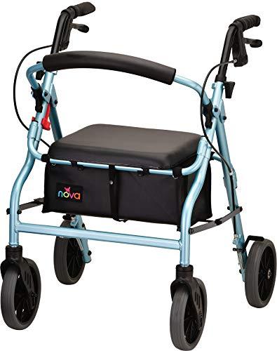"NOVA Zoom Rollator Walker with 20"" Seat Height, Sky Blue"