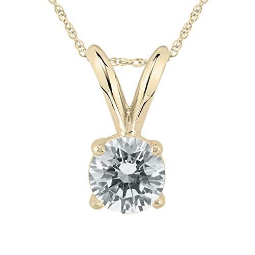 Diamond Solitaire Pendant in 14K Yellow Gold (1/4 Carat - 1/2 Carat)