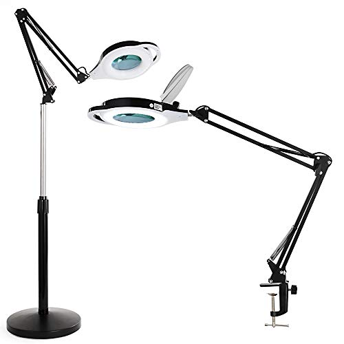 LED Magniyfing Floor lamp with Clamp, ALISR 1800 Lumens Professional Cool Light Magnifier Lamp for Estheticians, Adjustable Stand & Swivel Arm LED Light for Facials, Sewing, Cross Stitch, Crafts-Black
