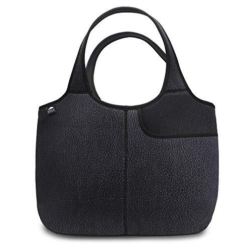 Damen Weiche Tote Schultertasche Neopren Handtasche Laptop Computer Reisetasche börse, Schwarz (Kunstleder-Aufdruck), X-Large