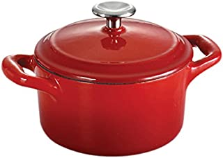 Tramontina 80131/049DS Enameled Cast Iron Covered Mini Cocotte, 10.5-Ounce, Gradated Red