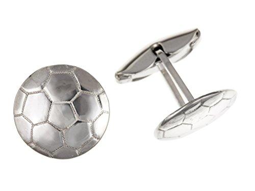 Football Boule ronde Boutons de manchette – Argent Sterling 925 – Livré dans une boîte cadeau gratuit ou sac cadeau