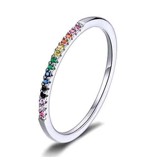 Qings Anillos de Dedo de Colores del Arco Iris Plata de Ley 925 CZ Anillo de Dedo Brillante para Todas Las mamás