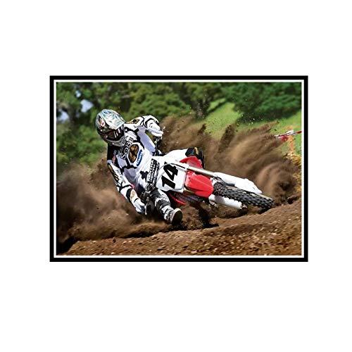 ZYHD Motocross Dirt Bike Jump Sport 3 lienzo pintura arte carteles impresos para la decoración de la sala de estar de la pared del hogar-24X32 pulgadas sin marco 1 Uds