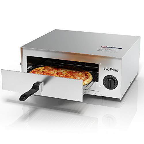 Goplus Stainless Steel Pizza Oven, Electric Pizza Maker Pizza Baker with Snack Pan, Snack Maker,...