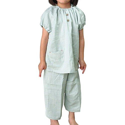 [パジャマ工房] 子供 パジャマ 半袖 かぶり 丸首 綿100% 二重ガーゼ(ダブルガーゼ) [371] 12オリーブ