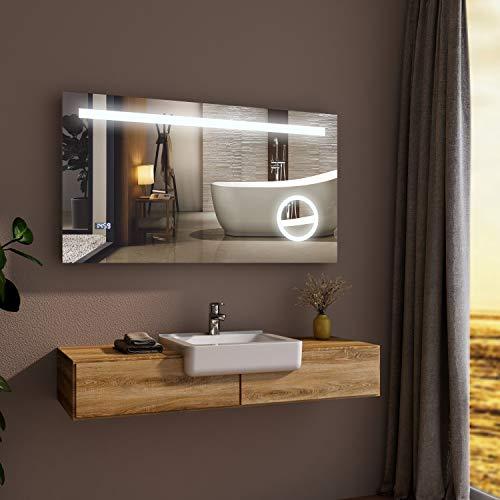 Spiegel Wandspiegel mit LED Beleuchtung 120 x 60 cm Badspiegel Lichtspiegel mit Sensor-Schalterund, Schminkspiegel und Digital Uhr IP44 energiesparend - Kaltweiß
