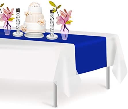 Blue 12 Pack Premium Disposable Plastic Table Runner 14 x 108 Inch Decorative Table Runner for product image