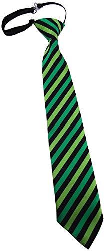 TigerTie Security Sicherheits Krawatte grün hellgrün schwarz gestreift - vorgebunden mit Gummizug