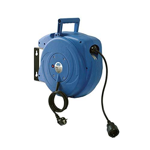 as - Schwabe Automatischer Kabelaufroller für den Innenbereich – 15 m Kupplungsleitung & 1,5 m Steckerzuleitung – 230 V / 16 A robuste Kabeltrommel mit Aufrollautomatik – IP20 – Blau I 12611