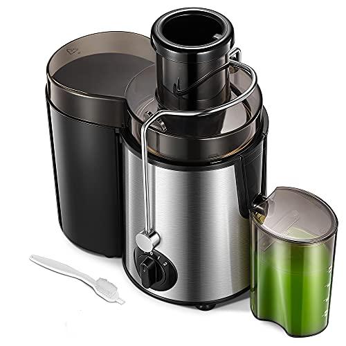 Licuadora para Verduras y Frutas 400 W Extractor de Jugo Frío con Boca de 65 mm, 3 Velocidades de Ajuste, Acero Inoxidable de Grado Alimenticio sin BPA, Cepillo de Limpieza Incluido
