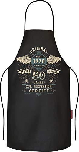 Lobo Negro Grillschürze Kochschürze Küchenschürze als Geschenk zum 50.Geburtstag: Vintage Retro Style
