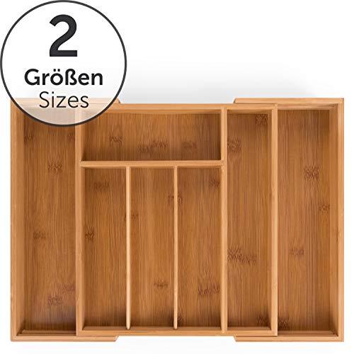 Blumtal Besteckkasten Schublade aus Bambus - größenverstellbarer Schubladen-Einsatz, bis zu 9 Fächer (Standard - 7 Fächer)