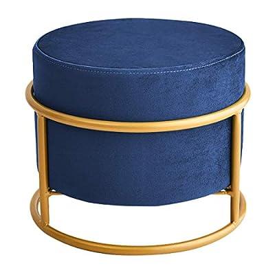 Small Velvet Ottoman Foot Rest Pouf Ottoman Stool Seat Round Ottoman Modern Decorative Tufted Fabric Stools