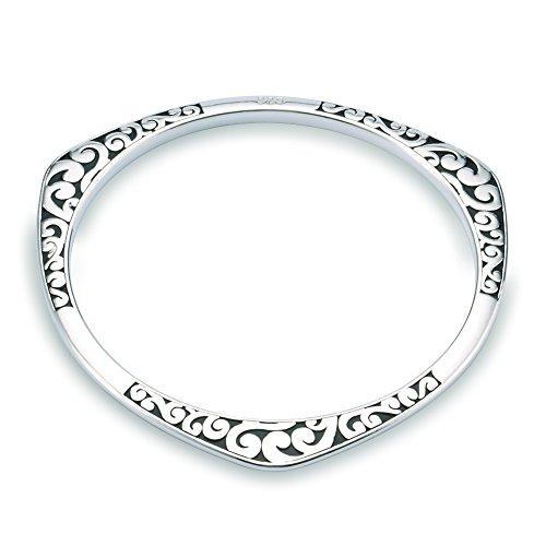 NYKKOLA Fashion Silver Jewellery Beautiful 925 Style Classic Vintage Wave Bracelet Bangle