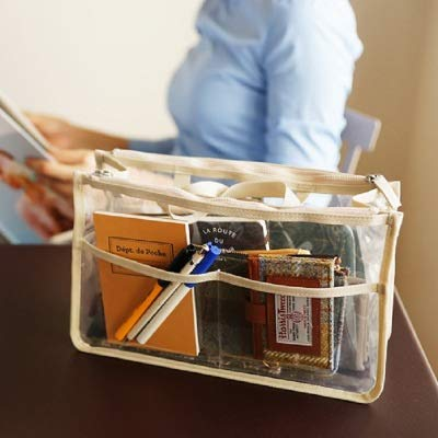 Mode PVC Transparent cosmétique Sac Femmes Organisateur Voyage Sac de Maquillage Clair Sacs de Plage de Grande capacité Poratable Sacs Toilette (Color : Beige)