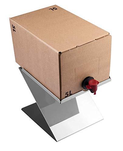 Lares Soporte para cajas de bebidas, ideal para sistemas de bolsas de 5 litros, de acero inoxidable, fabricado en Alemania.