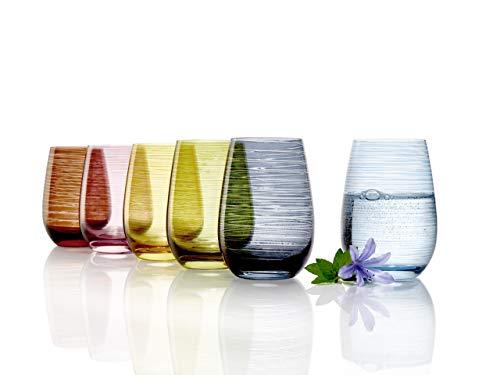 Stölzle Lausitz Mediterraner Mix I hochwertige Moderne Trinkgläser der Serie Twister I Gläser 465 ml I 6er Gläser Set I Wassergläser Set I Gläser bunt I Trinkglas ist spülmaschinenfest