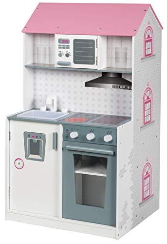 Roba Casa Bambole e Cucina 2in1, Utilizzabile come Casa delle Bambole da un Lato e come Cucina per Bambini Dall´altro Lato, 2 Giochi in 1