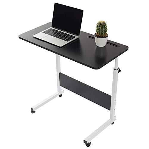 Grandma Laptop-Tisch mit Hai-Motiv, stehend, höhenverstellbar, Computer-Schreibtisch mit Handy-, Tablet-PC-Steckplatz, beweglich mit Rollen, tragbarer Beistelltisch für Bett, Sofa, Schwarz, 80×40