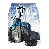 De Los Hombres Casual Pantalones Cortos,Las ruedas del tractor gran granjero de campo trabajando en maquinaria agrícola trabajan cielo nublado,Traje de Baño Playa Ropa de Deporte con Forro de Malla