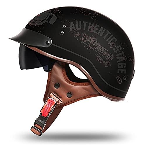 SPOTOR Retro Motocross Caasco Casco AnticolisióN Biker Racing Vintage Casco Moto Abierto...