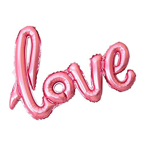 regalo LOVEバルーン (横100cm×縦60cm) アルミ風船 飾りつけ 誕生日 結婚式 (ピンク)