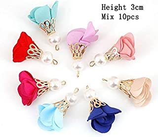 ZRBC 23 Style Mixed Types Tassel Findings Flower Silk Polyester Charms Pendant Drop Earring Tassel for Jewelry DIY Graft Making (Color : Silver)