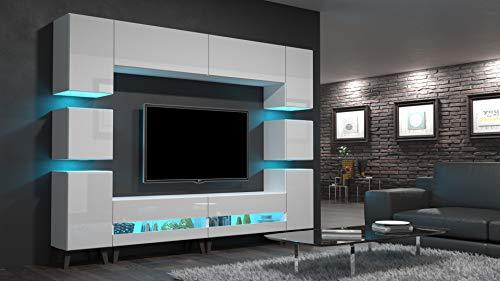 Home Direct Heidi N36 Weiß Modernes Wohnzimmer Wohnwand Wohnschrank Schrankwand Möbel Mediawand (AN36-18HG-W2 1A mit Füßen, Led RGB (16 Farben))