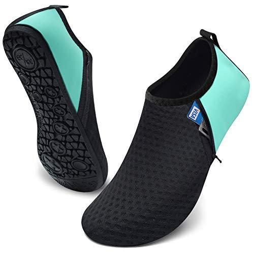 JIASUQI Womens Mens Lightweight Beach Diving Park Athletci Aqua Water Shoes Zip Green US 7.5-8.5 Women,6.5-7.5 Men
