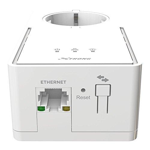 STRONG Powerline 1200 Kit Netzwerkadapter (1200 Mbit/s, integrierte Steckdose, Fast-Ethernet-LAN, Powerlan) weiß