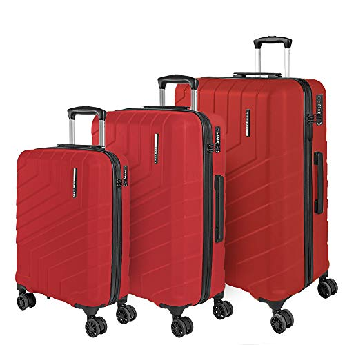 Set Maletas Rigidas - Trolley de Mano de Cabina Grande Mediano de Bodega - Equipaje de Viaje Mango Telescópico de Aluminio - Cerradura TSA y 4 Ruedas Dobles - Perletti Travel (Rojo, S+M+L)