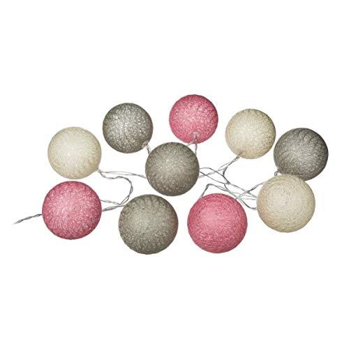 Guirlande lumineuse 10 boules LED gris rose blanc
